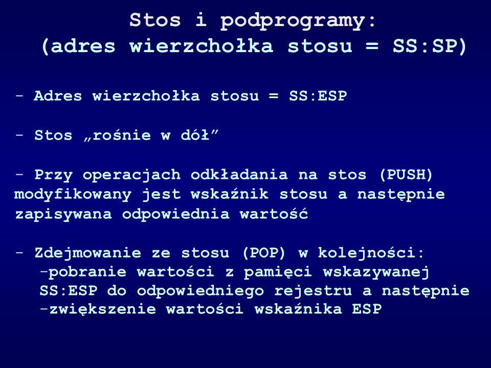 Stos i podprogramy: (adres wierzchołka stosu = SS:SP) - Adres wierzchołka stosu = SS:ESP - Stos rośnie w dół - Przy operacjach odkładania na stos (PUS