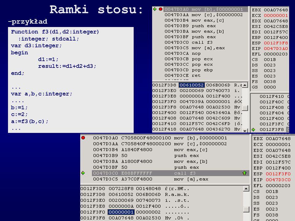 Ramki stosu: -przykład Function f3(d1,d2:integer) :integer; stdcall; var d3:integer; begin d1:=1; result:=d1+d2+d3; end;... var a,b,c:integer;.... b:=