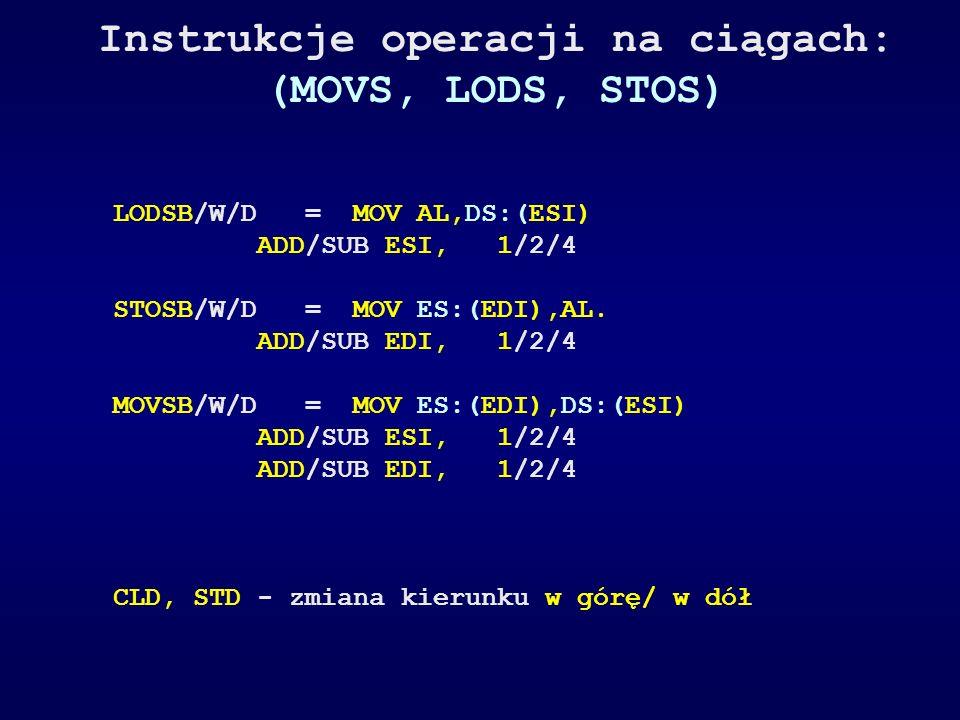 Instrukcje operacji na ciągach: (MOVS, LODS, STOS) LODSB/W/D = MOV AL,DS:(ESI) ADD/SUB ESI,1/2/4 STOSB/W/D = MOV ES:(EDI),AL. ADD/SUB EDI,1/2/4 MOVSB/