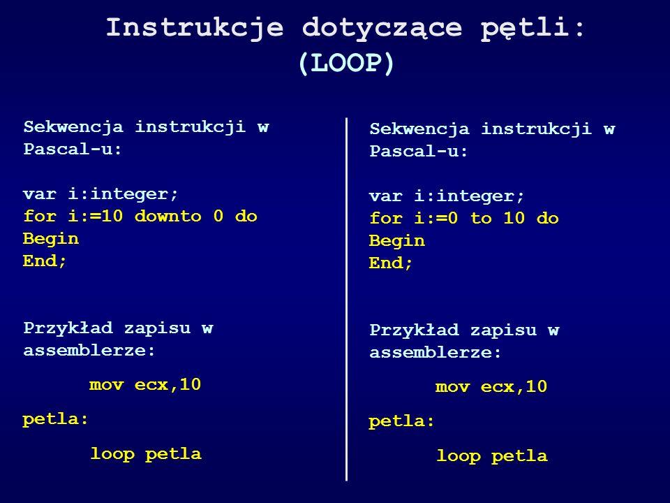 Instrukcje dotyczące pętli: (LOOP) Sekwencja instrukcji w Pascal-u: var i:integer; for i:=10 downto 0 do Begin End; Przykład zapisu w assemblerze: mov