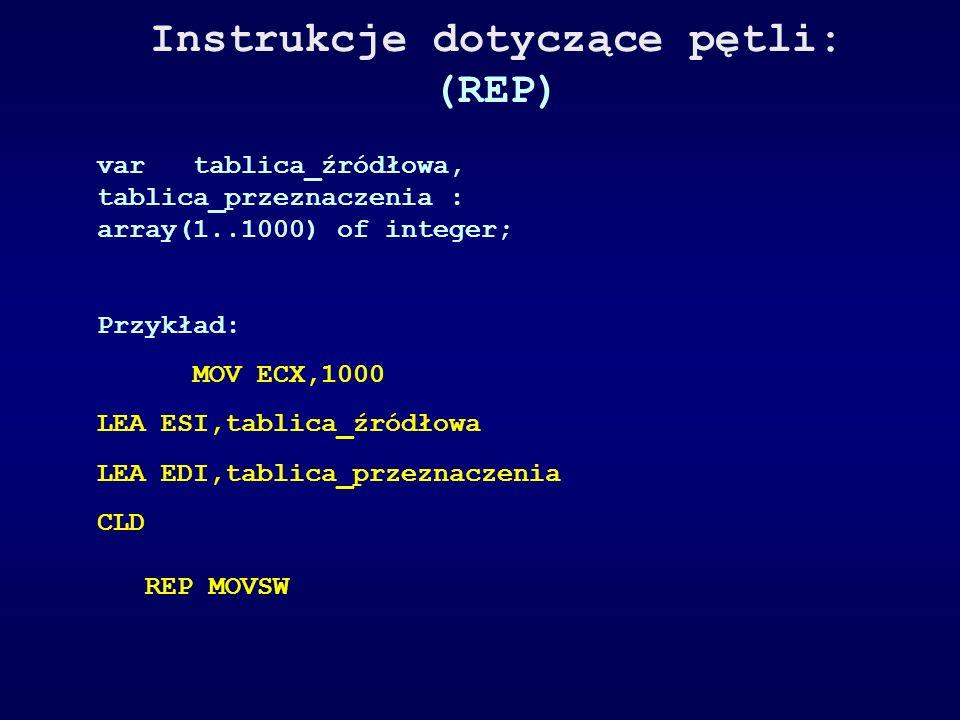 Instrukcje dotyczące pętli: (REP) vartablica_źródłowa, tablica_przeznaczenia : array(1..1000) of integer; Przykład: MOV ECX,1000 LEA ESI,tablica_źródł