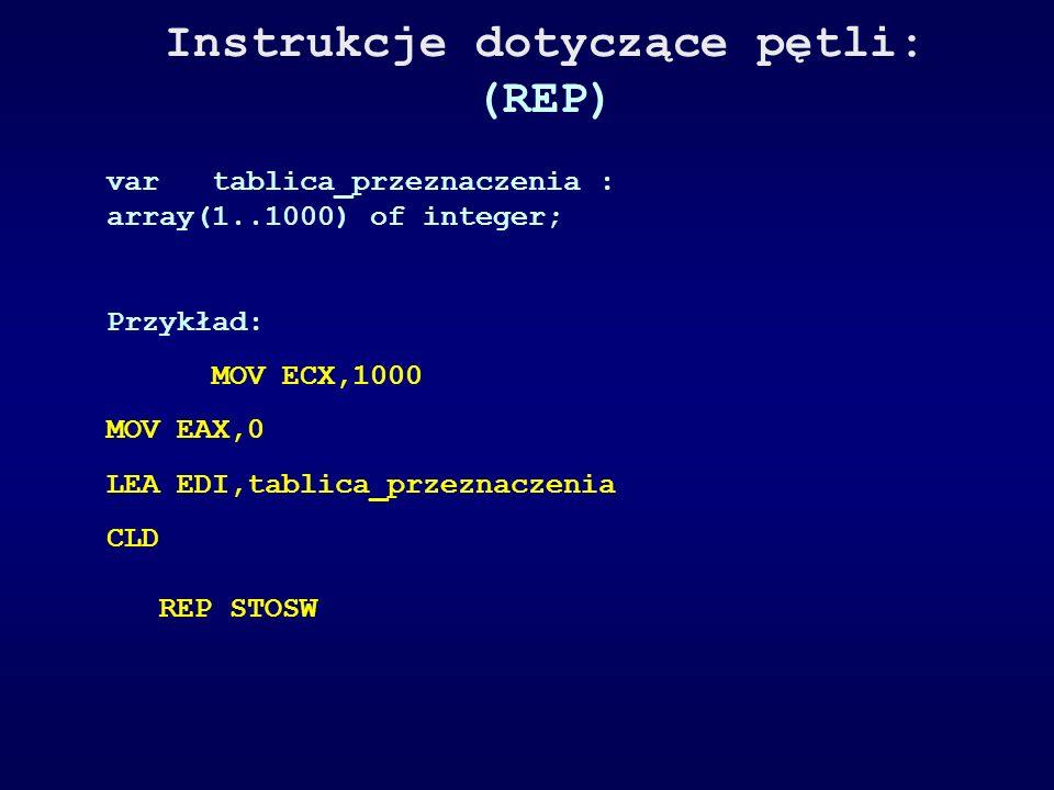 Instrukcje dotyczące pętli: (REP) vartablica_przeznaczenia : array(1..1000) of integer; Przykład: MOV ECX,1000 MOV EAX,0 LEA EDI,tablica_przeznaczenia
