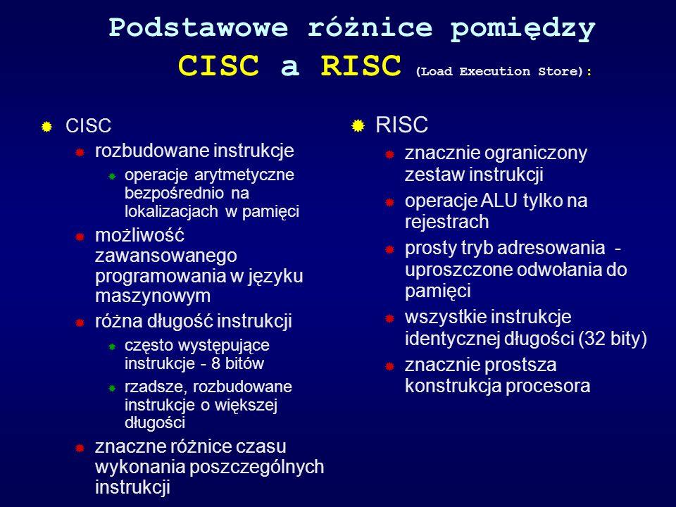 Podstawowe różnice pomiędzy CISC a RISC (Load Execution Store): CISC rozbudowane instrukcje operacje arytmetyczne bezpośrednio na lokalizacjach w pami