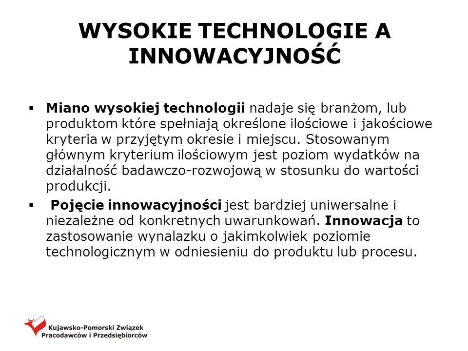 WYSOKIE TECHNOLOGIE A INNOWACYJNOŚĆ Miano wysokiej technologii nadaje się branżom, lub produktom które spełniają określone ilościowe i jakościowe kryt