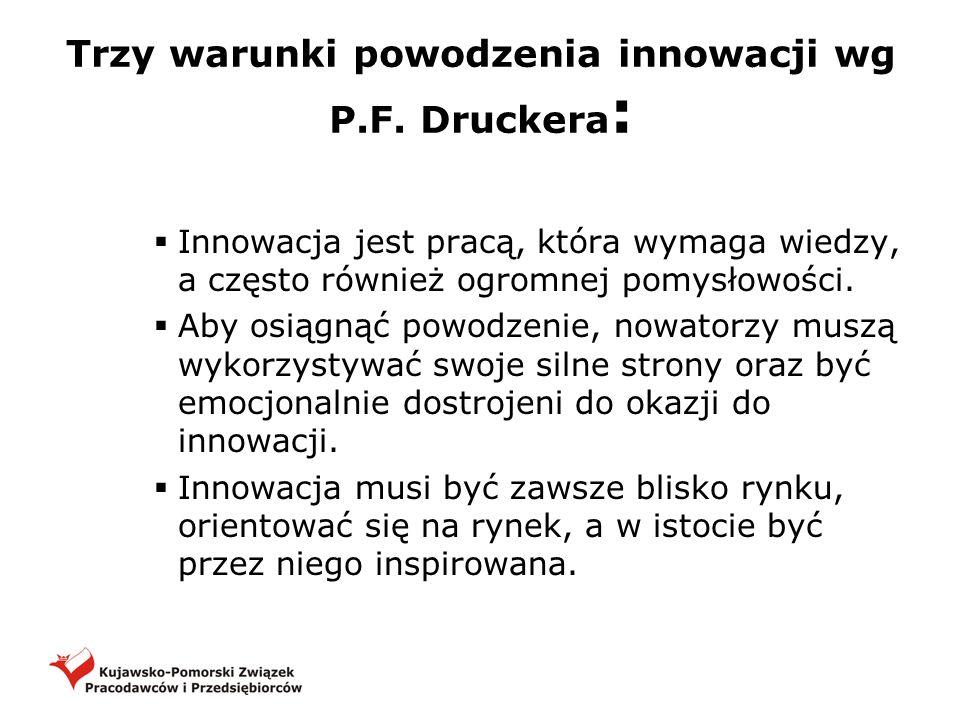 Trzy warunki powodzenia innowacji wg P.F. Druckera : Innowacja jest pracą, która wymaga wiedzy, a często również ogromnej pomysłowości. Aby osiągnąć p