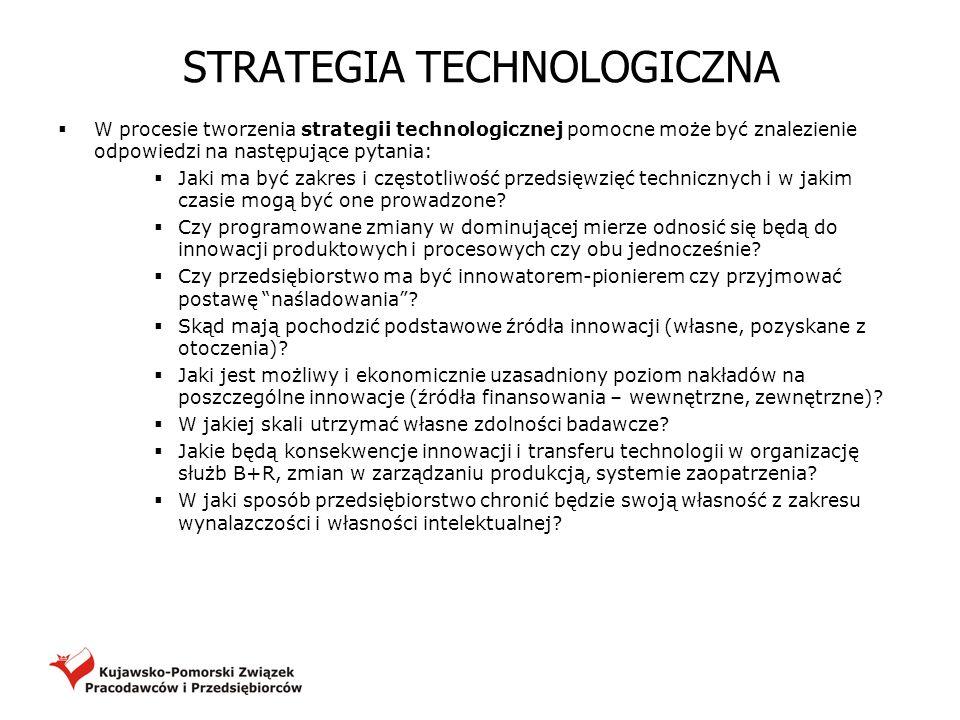 STRATEGIA TECHNOLOGICZNA W procesie tworzenia strategii technologicznej pomocne może być znalezienie odpowiedzi na następujące pytania: Jaki ma być za