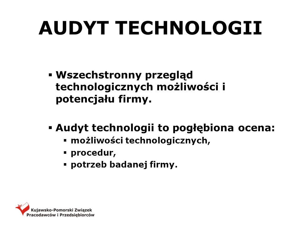 AUDYT TECHNOLOGII Wszechstronny przegląd technologicznych możliwości i potencjału firmy. Audyt technologii to pogłębiona ocena: możliwości technologic