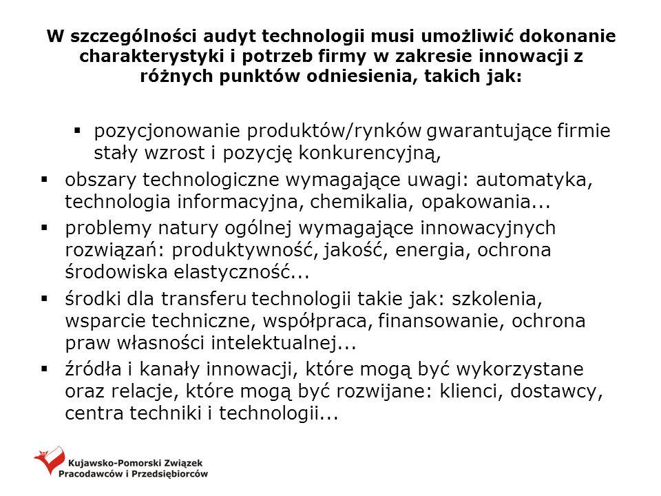 W szczególności audyt technologii musi umożliwić dokonanie charakterystyki i potrzeb firmy w zakresie innowacji z różnych punktów odniesienia, takich