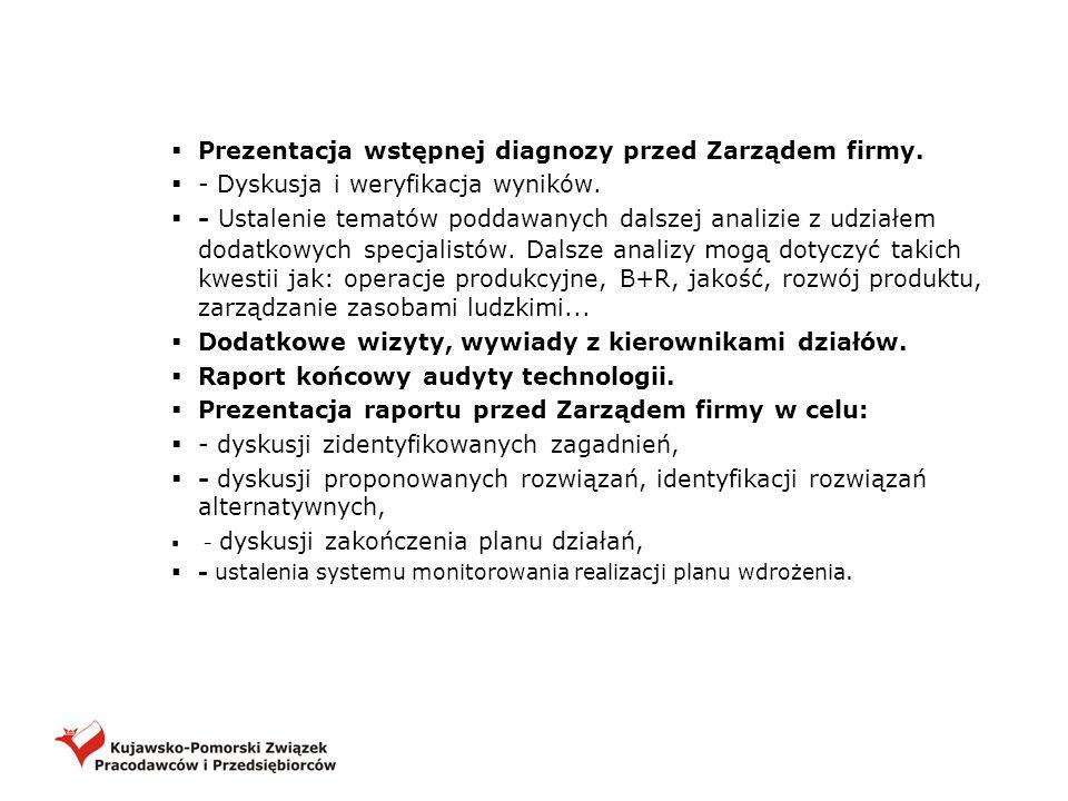 Prezentacja wstępnej diagnozy przed Zarządem firmy. - Dyskusja i weryfikacja wyników. - Ustalenie tematów poddawanych dalszej analizie z udziałem doda