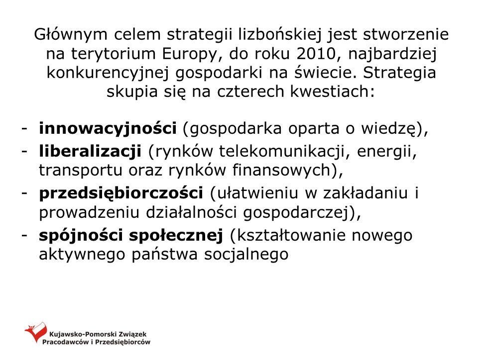 Głównym celem strategii lizbońskiej jest stworzenie na terytorium Europy, do roku 2010, najbardziej konkurencyjnej gospodarki na świecie. Strategia sk