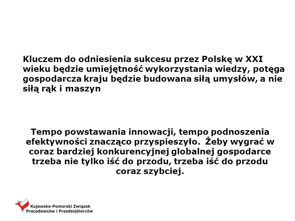 Kluczem do odniesienia sukcesu przez Polskę w XXI wieku będzie umiejętność wykorzystania wiedzy, potęga gospodarcza kraju będzie budowana siłą umysłów