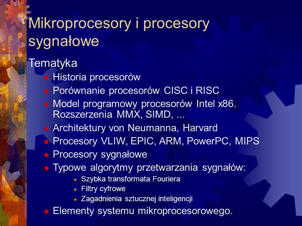 Mikroprocesory i procesory sygnałowe Tematyka Historia procesorów Porównanie procesorów CISC i RISC Model programowy procesorów Intel x86. Rozszerzeni