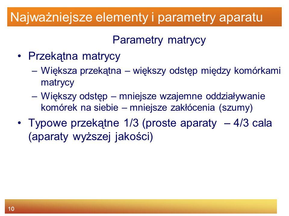 10 Najważniejsze elementy i parametry aparatu Parametry matrycy Przekątna matrycy –Większa przekątna – większy odstęp między komórkami matrycy –Większ