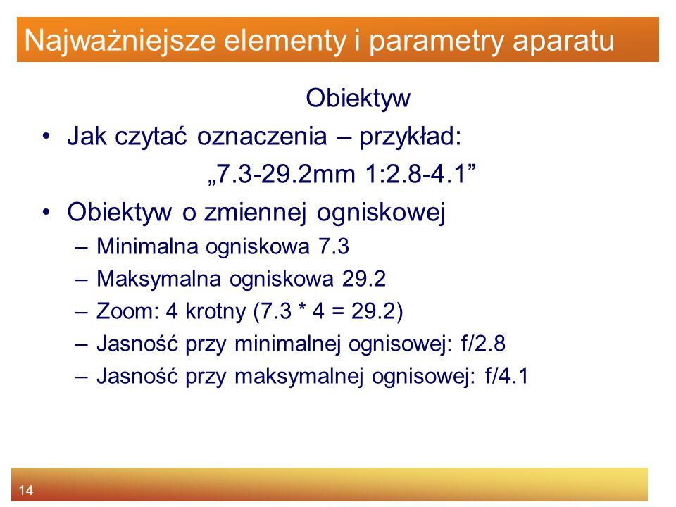 14 Najważniejsze elementy i parametry aparatu Obiektyw Jak czytać oznaczenia – przykład: 7.3-29.2mm 1:2.8-4.1 Obiektyw o zmiennej ogniskowej –Minimaln