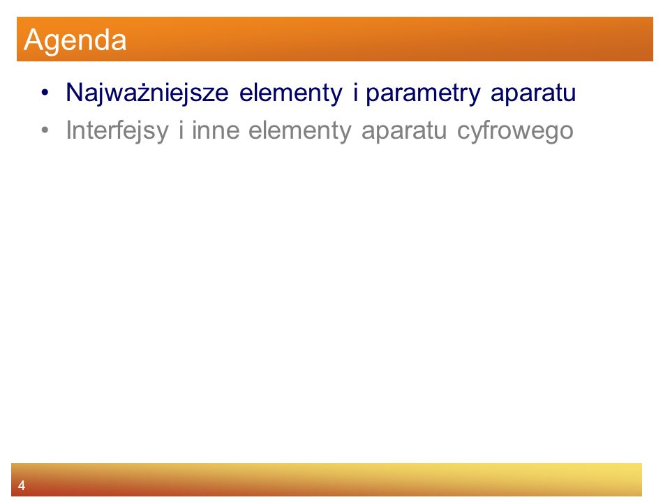 15 Najważniejsze elementy i parametry aparatu Obiektyw Przysłona – układ blaszek wbudowany w obiektyw i regulujący ilość wpuszczanego światła Oznaczona symbolem f/n, gdzie n jest tzw.