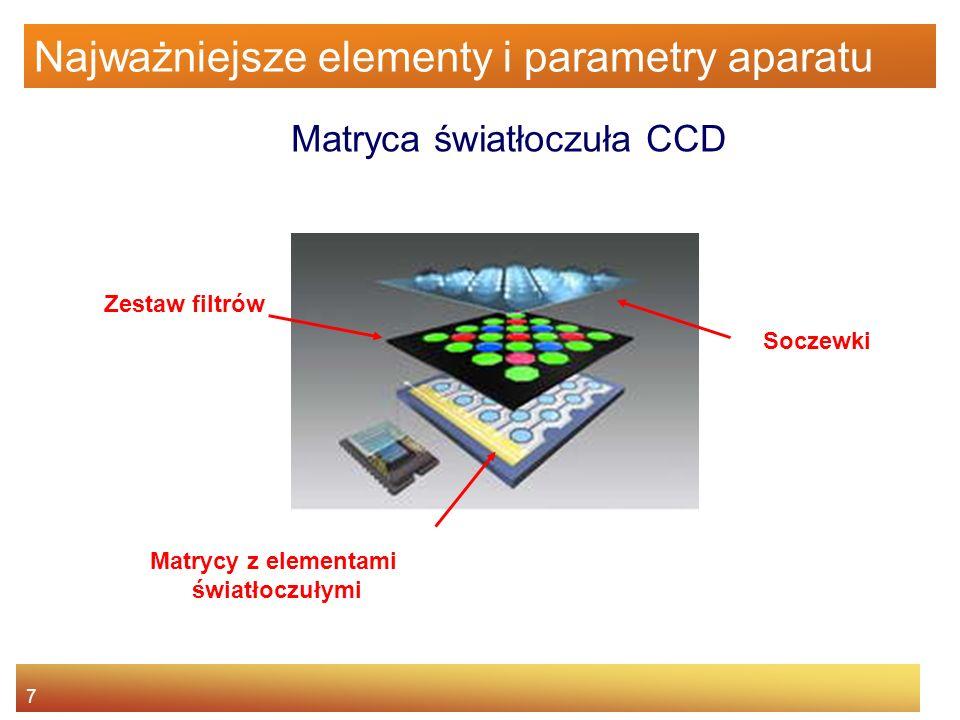 8 Najważniejsze elementy i parametry aparatu Parametry matrycy Rozdzielczość (w milionach pikseli - MP) - duża rozdzielczość: –Stwarza większe możliwości dalszej obróbki zdjęcia –Umożliwia wykonanie wydruku w większych rozmiarach RozdzielczośćRozmiar wydruku 150 dpi (średnia jakość) Rozmiar wydruku 300 dpi (dobra jakość) 5 MP 2560x192043x32 cm21x16 cm 4 MP 2240x168038x28 cm19x14 cm 3 MP 2048x153634x26 cm17x13 cm 1 MP 1200x90020x15 cm10x7 cm