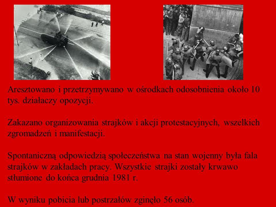 Aresztowano i przetrzymywano w ośrodkach odosobnienia około 10 tys. działaczy opozycji. Zakazano organizowania strajków i akcji protestacyjnych, wszel