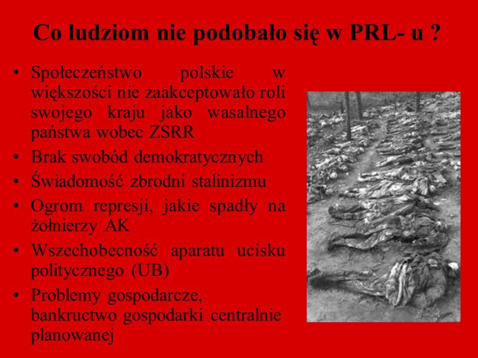Co ludziom nie podobało się w PRL- u ? Społeczeństwo polskie w większości nie zaakceptowało roli swojego kraju jako wasalnego państwa wobec ZSRR Brak
