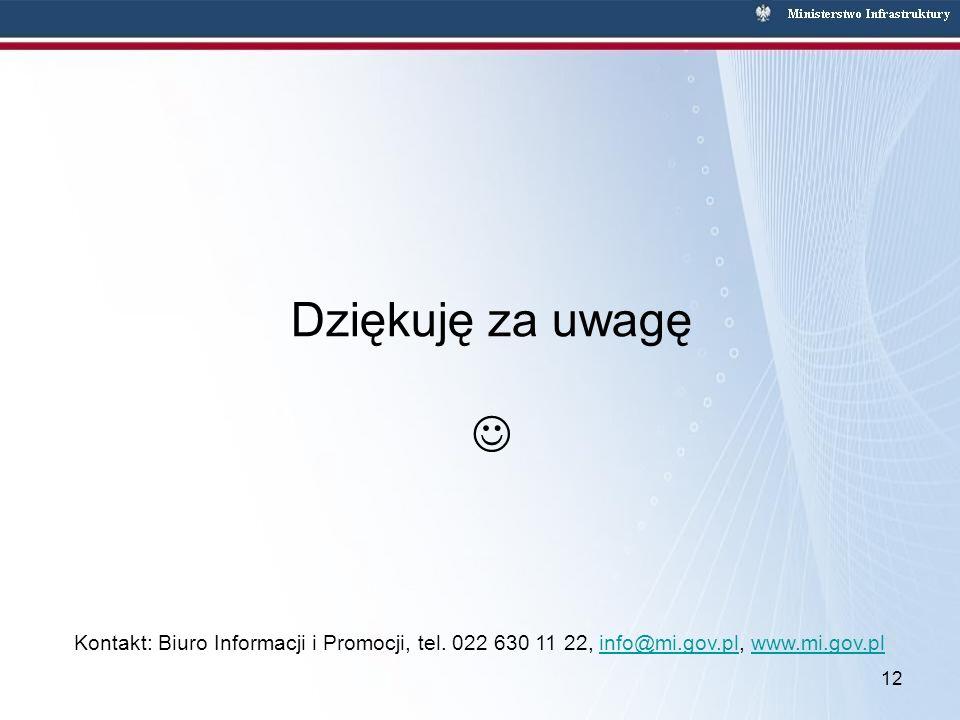 12 Dziękuję za uwagę Kontakt: Biuro Informacji i Promocji, tel. 022 630 11 22, info@mi.gov.pl, www.mi.gov.plinfo@mi.gov.plwww.mi.gov.pl