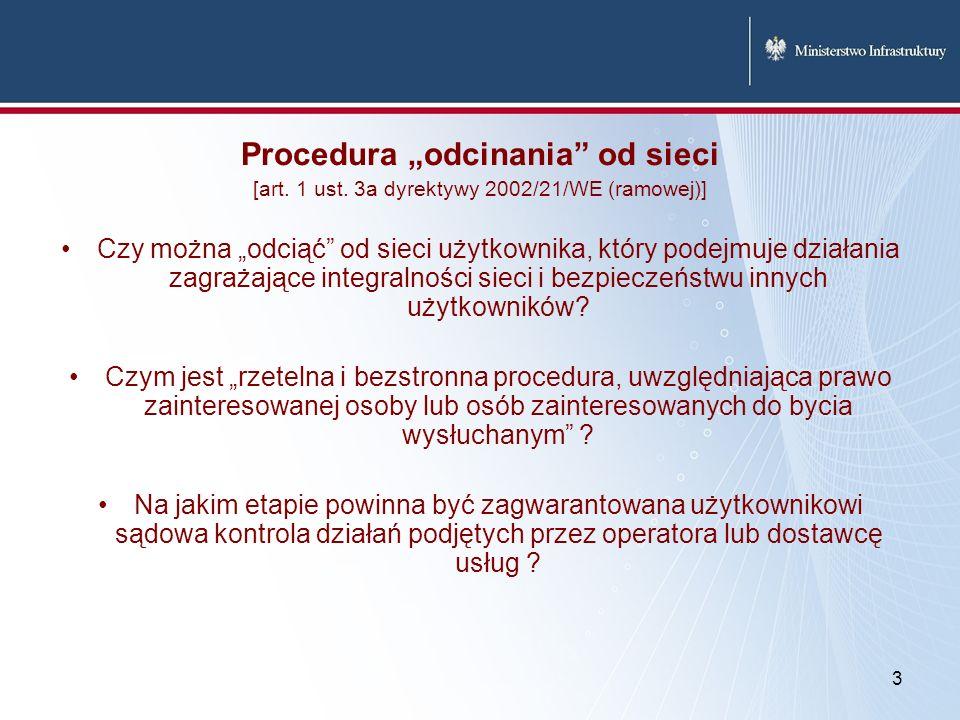 Procedura odcinania od sieci [art. 1 ust. 3a dyrektywy 2002/21/WE (ramowej)] Czy można odciąć od sieci użytkownika, który podejmuje działania zagrażaj