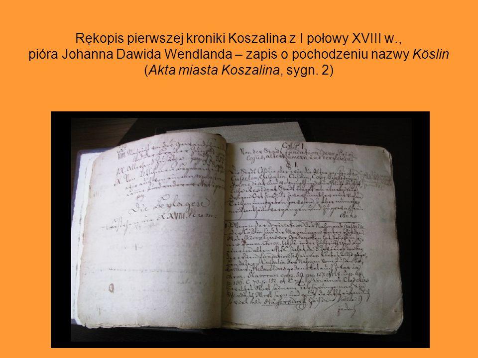 Rękopis pierwszej kroniki Koszalina z I połowy XVIII w., pióra Johanna Dawida Wendlanda – strona tytułowa (Akta miasta Koszalina, sygn. 2)
