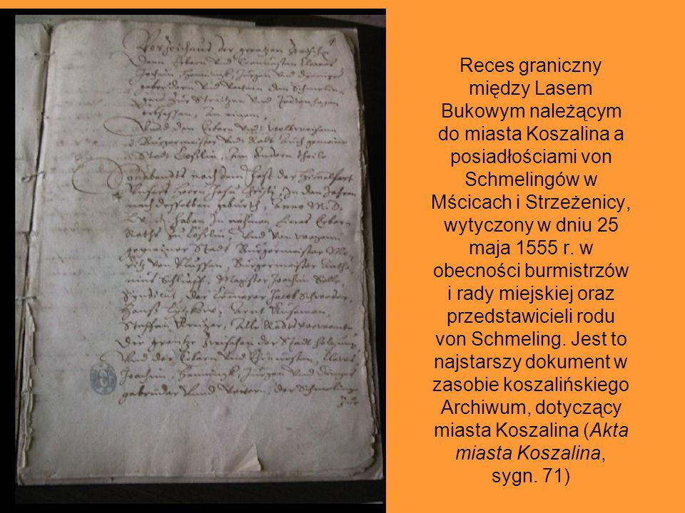 Rękopis pierwszej kroniki Koszalina z I połowy XVIII w., pióra Johanna Dawida Wendlanda – odpis aktu lokacyjnego Koszalina z 1266 r., sporządzony prze