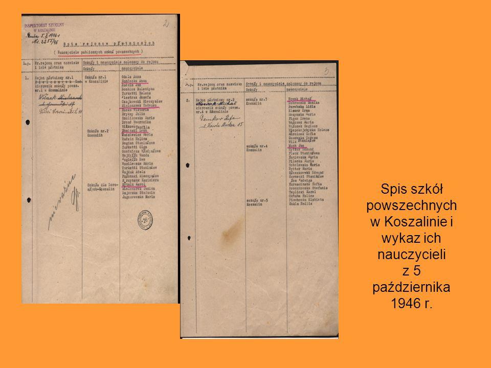 Nadanie polskich nazw niektórym ulicom w Koszalinie, 30 maja 1945 r. Pierwszy polski dokument, zachowany w zasobie koszalińskiego Archiwum