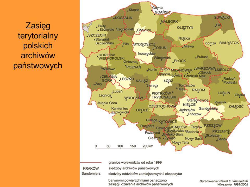 Zasięg terytorialny polskich archiwów państwowych
