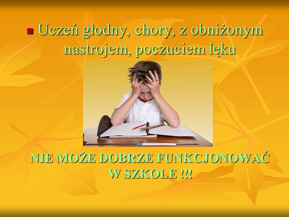 Uczeń głodny, chory, z obniżonym nastrojem, poczuciem lęku Uczeń głodny, chory, z obniżonym nastrojem, poczuciem lęku NIE MOŻE DOBRZE FUNKCJONOWAĆ W S