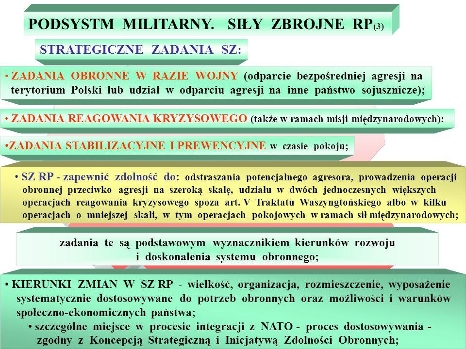 ZDOLNOŚCI OPERACYJNE SZ gotowość bojowa i mobilizacyjna - zdolność do reagowania na polityczno-militarne i pozamilitarne zagrożenia kryzysowe, realizacji zobowiązań wynikających z umów, strategicznego rozwinięcia wojsk; efektywność wywiadu i rozpoznania wojskowego - warunkowane przez terminowe i wiarygodne dostarczanie organom politycznym państwa i dowódcom wojskowym informacji o zagrożeniach, potencjalnym przeciwniku, warunkach meteorologicznych oraz terenie w rejonach operacyjnego zainteresowania; efektywność dowodzenia - zapewnienie pełnej zgodności funkcjonalnej, organizacyjnej, technicznej i informacyjnej systemów dowodzenia w czasie P z potrzebami czasu W; elastyczność reagowania - zapewnienie zdolności do bezkolizyjnego przejścia wojsk ze stanów stałej got.