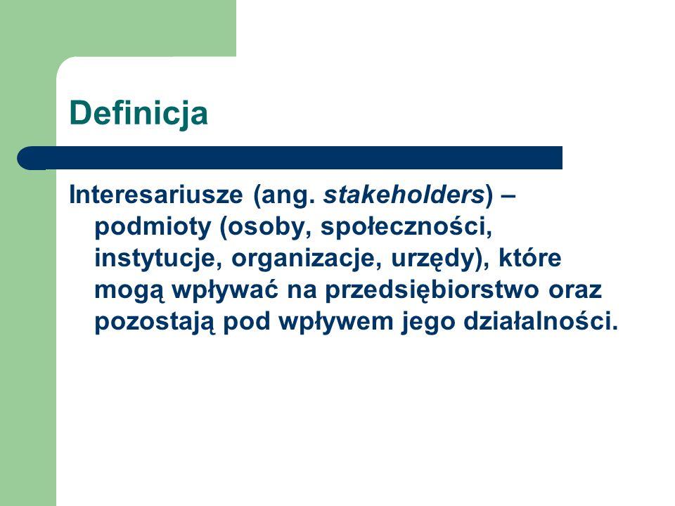 Definicja Interesariusze (ang. stakeholders) – podmioty (osoby, społeczności, instytucje, organizacje, urzędy), które mogą wpływać na przedsiębiorstwo