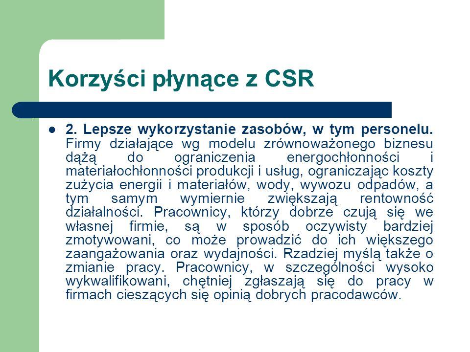 Korzyści płynące z CSR 2. Lepsze wykorzystanie zasobów, w tym personelu. Firmy działające wg modelu zrównoważonego biznesu dążą do ograniczenia energo