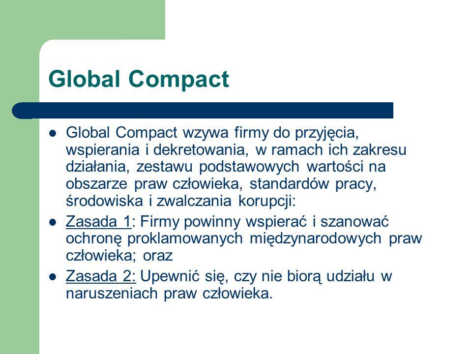 Global Compact Global Compact wzywa firmy do przyjęcia, wspierania i dekretowania, w ramach ich zakresu działania, zestawu podstawowych wartości na ob