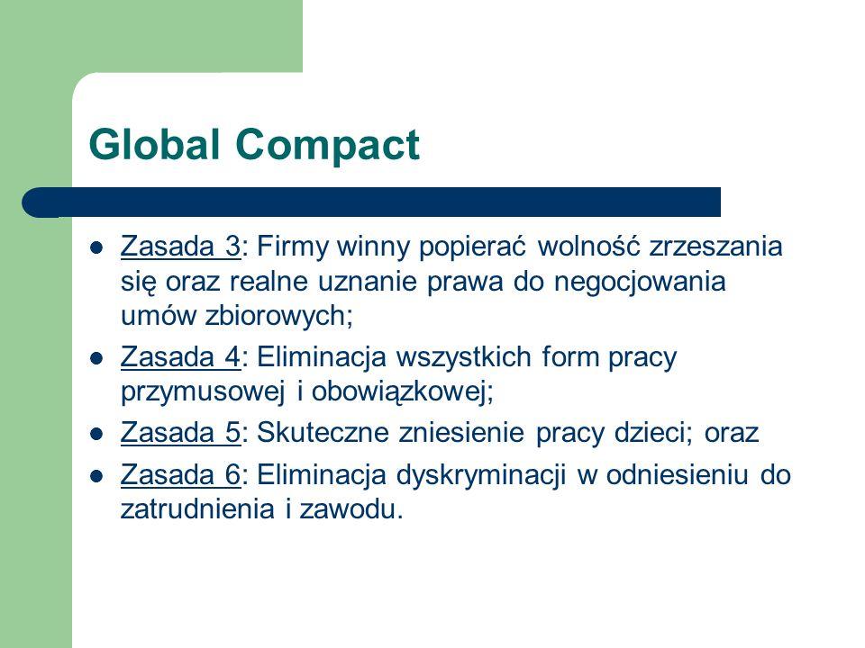 Global Compact Zasada 3: Firmy winny popierać wolność zrzeszania się oraz realne uznanie prawa do negocjowania umów zbiorowych; Zasada 3 Zasada 4: Eli