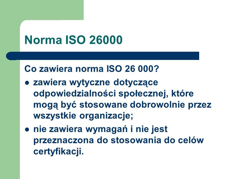 Norma ISO 26000 Co zawiera norma ISO 26 000? zawiera wytyczne dotyczące odpowiedzialności społecznej, które mogą być stosowane dobrowolnie przez wszys