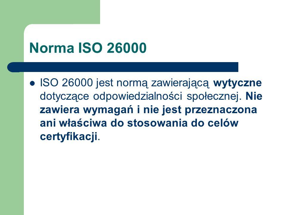 Norma ISO 26000 ISO 26000 jest normą zawierającą wytyczne dotyczące odpowiedzialności społecznej. Nie zawiera wymagań i nie jest przeznaczona ani właś
