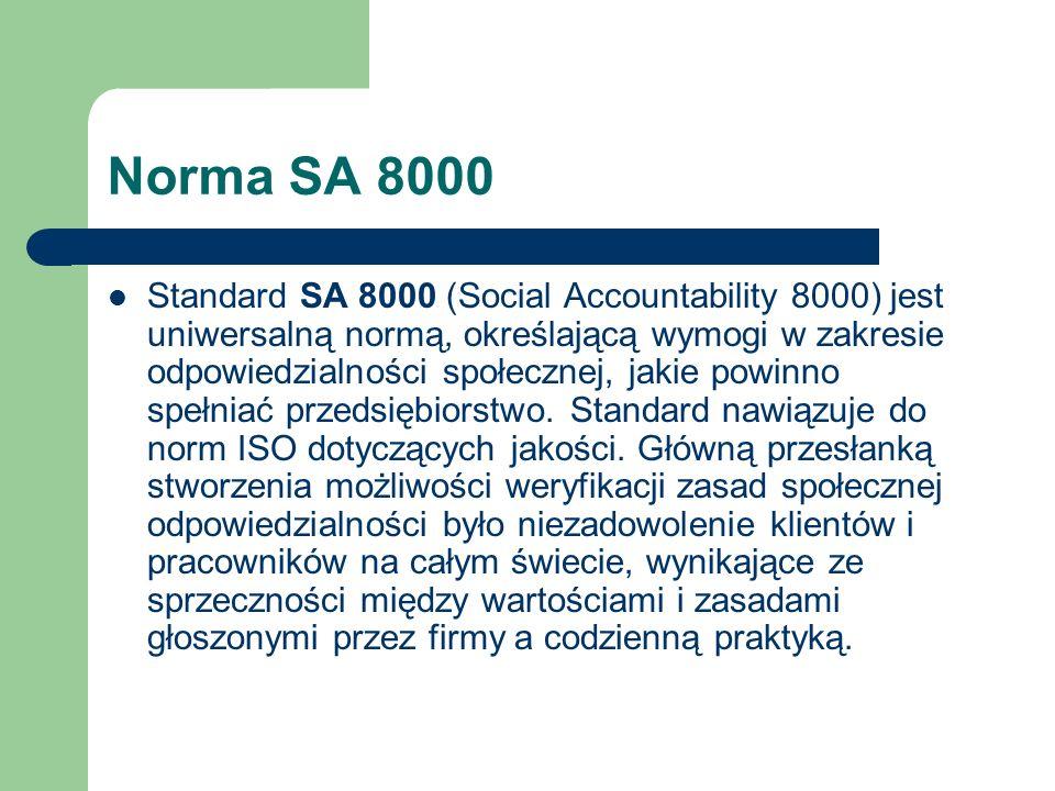 Norma SA 8000 Standard SA 8000 (Social Accountability 8000) jest uniwersalną normą, określającą wymogi w zakresie odpowiedzialności społecznej, jakie