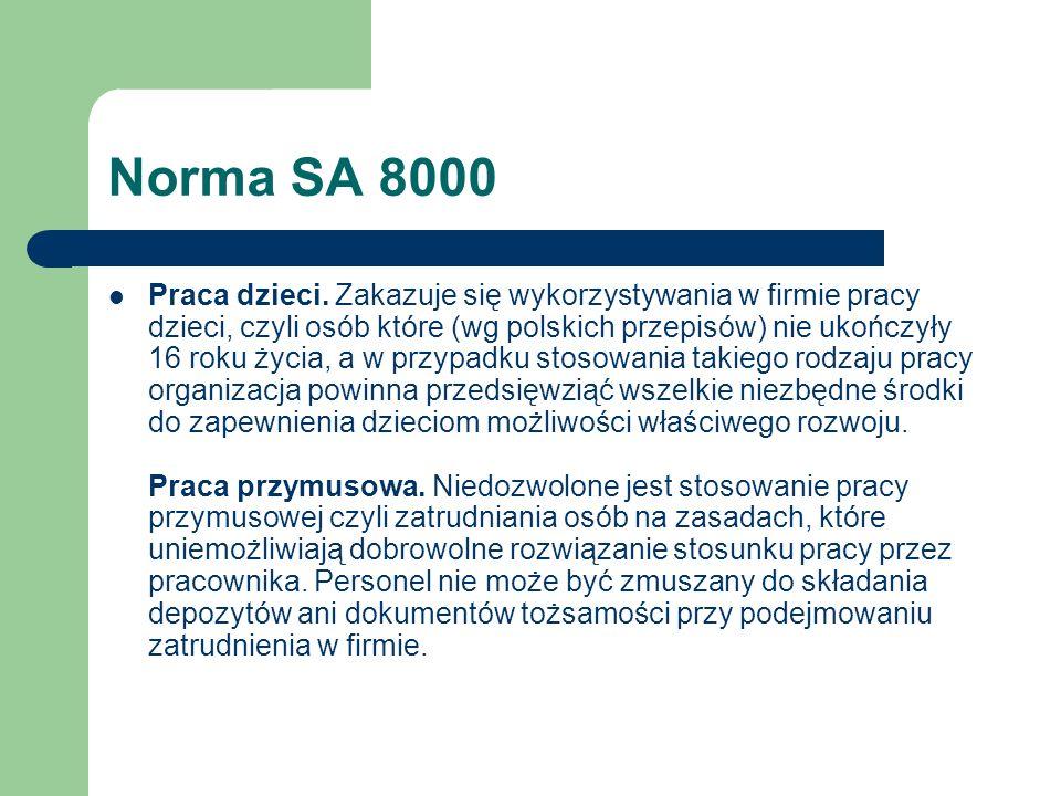 Norma SA 8000 Praca dzieci. Zakazuje się wykorzystywania w firmie pracy dzieci, czyli osób które (wg polskich przepisów) nie ukończyły 16 roku życia,