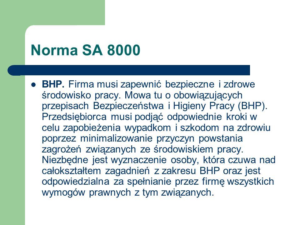 Norma SA 8000 BHP. Firma musi zapewnić bezpieczne i zdrowe środowisko pracy. Mowa tu o obowiązujących przepisach Bezpieczeństwa i Higieny Pracy (BHP).