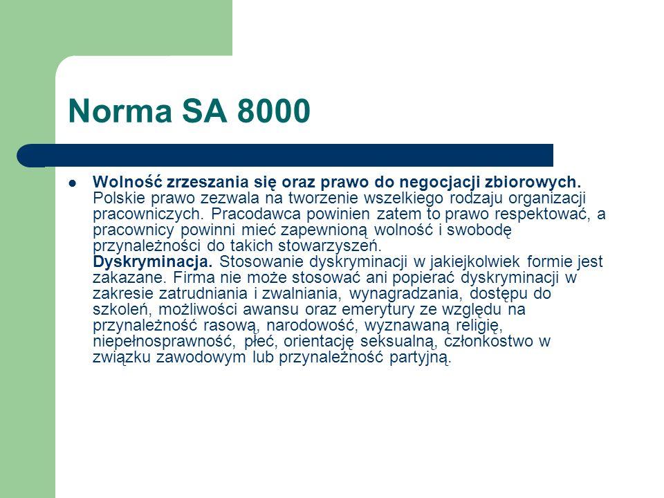 Norma SA 8000 Wolność zrzeszania się oraz prawo do negocjacji zbiorowych. Polskie prawo zezwala na tworzenie wszelkiego rodzaju organizacji pracownicz