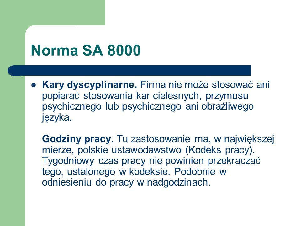 Norma SA 8000 Kary dyscyplinarne. Firma nie może stosować ani popierać stosowania kar cielesnych, przymusu psychicznego lub psychicznego ani obraźliwe