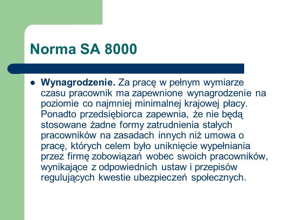 Norma SA 8000 Wynagrodzenie. Za pracę w pełnym wymiarze czasu pracownik ma zapewnione wynagrodzenie na poziomie co najmniej minimalnej krajowej płacy.