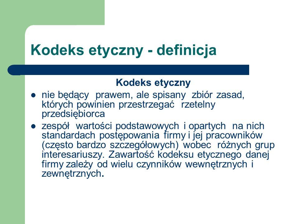 Kodeks etyczny - definicja Kodeks etyczny nie będący prawem, ale spisany zbiór zasad, których powinien przestrzegać rzetelny przedsiębiorca zespół war
