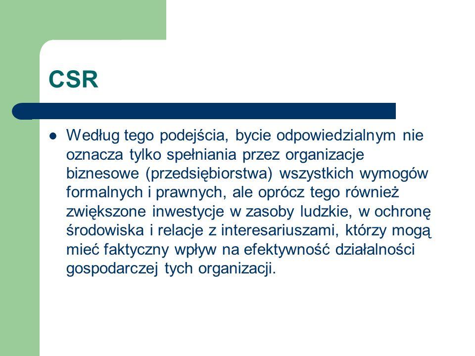 CSR Według tego podejścia, bycie odpowiedzialnym nie oznacza tylko spełniania przez organizacje biznesowe (przedsiębiorstwa) wszystkich wymogów formal