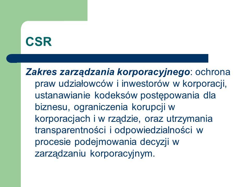 CSR Zakres zarządzania korporacyjnego: ochrona praw udziałowców i inwestorów w korporacji, ustanawianie kodeksów postępowania dla biznesu, ograniczeni