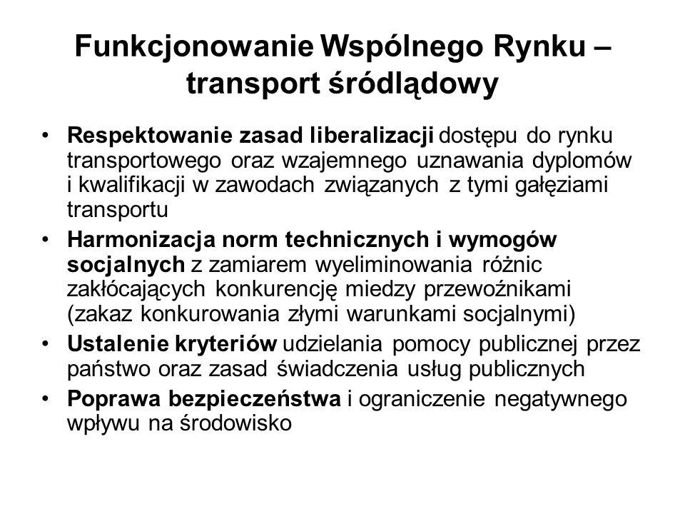 Funkcjonowanie Wspólnego Rynku – transport śródlądowy Respektowanie zasad liberalizacji dostępu do rynku transportowego oraz wzajemnego uznawania dypl