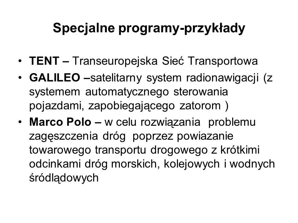 Specjalne programy-przykłady TENT – Transeuropejska Sieć Transportowa GALILEO –satelitarny system radionawigacji (z systemem automatycznego sterowania