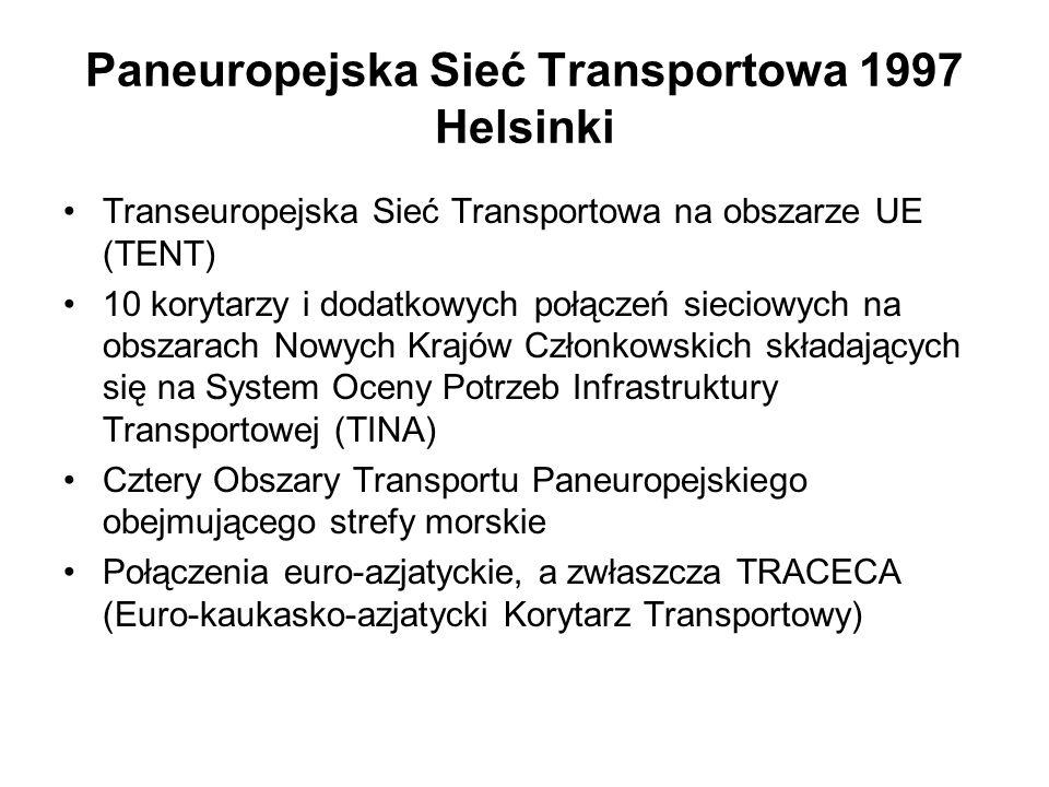 TINA – multimodalne korytarze transportowe przez Polskę - do 2015 Multimedialne korytarze zapewniają co najmniej dwie różne drogi transportowe o określonych parametrach technicznych, z odpowiednio rozmieszczonymi węzłami komunikacyjnymi * Talin-Ryga-Kowno-Warszawa (+odgałęzienie 1a: Ryga- Kaliningrad – Gdańsk) *Berlin – Warszawa-Mińsk-Moskwa *Berlin-Wrocław-Katowice-Lwów-Kijów(+odgałęzienie 3a: Drezno-Wrocław) *Gdańsk-Warszawa-Katowice-Żylina-Bratysława (+odgałęzienie 6a:Toruń – Poznań)