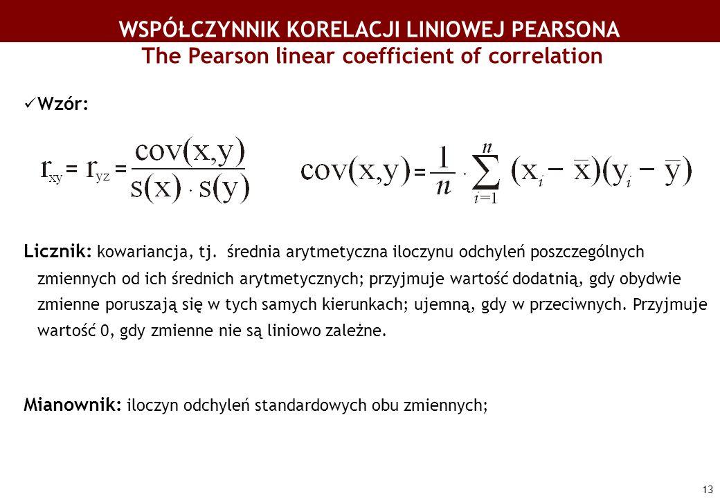 13 WSPÓŁCZYNNIK KORELACJI LINIOWEJ PEARSONA The Pearson linear coefficient of correlation Wzór: Licznik: kowariancja, tj. średnia arytmetyczna iloczyn