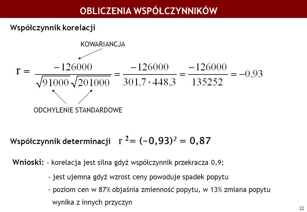 22 OBLICZENIA WSPÓŁCZYNNIKÓW Współczynnik korelacji r = Współczynnik determinacji r 2 = (-0,93) 2 = 0,87 Wnioski: - korelacja jest silna gdyż współczy